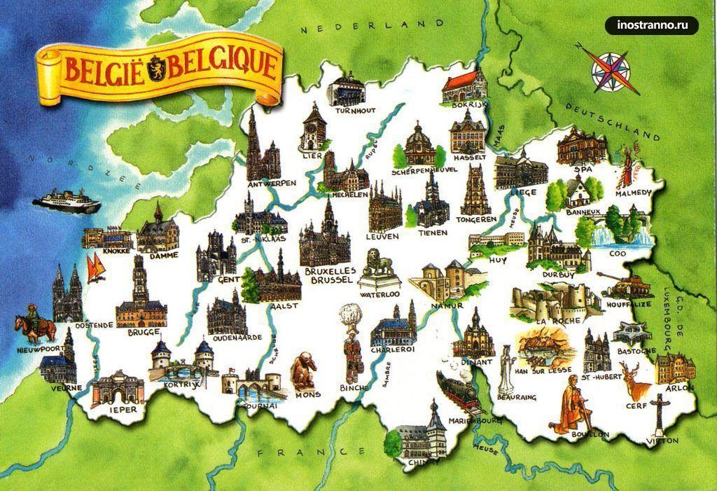Brüssel Sehenswürdigkeiten Karte.Belgien Sehenswürdigkeiten Map Karte Von Belgien